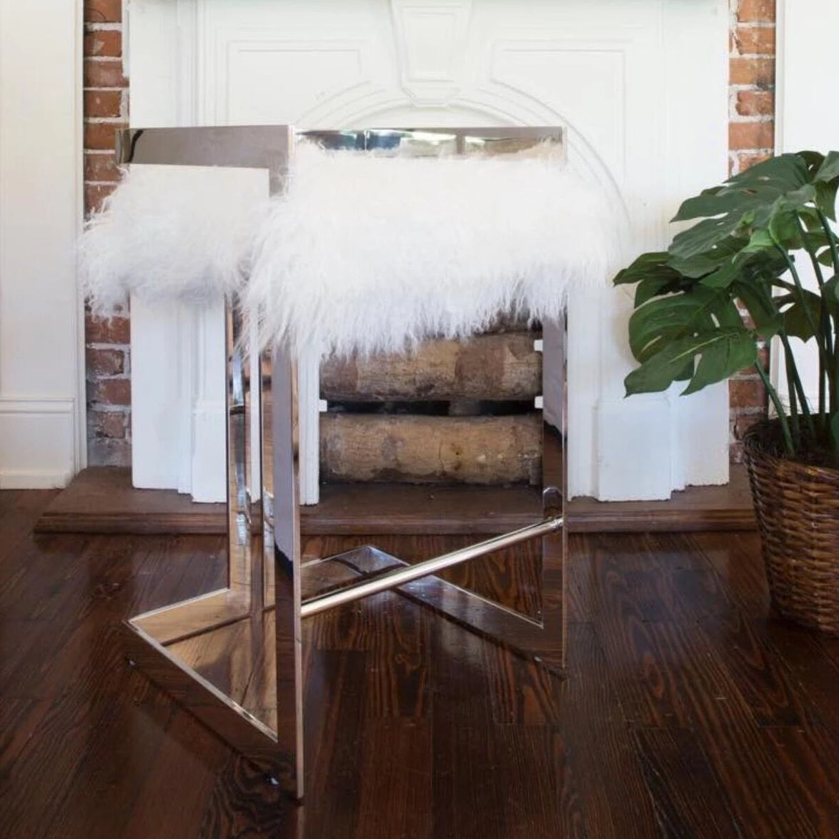 worlds away emmett counter stool nickel and white fur room view