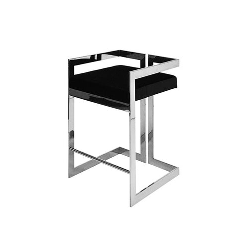 worlds away emmett counter stool nickel black velvet cushion