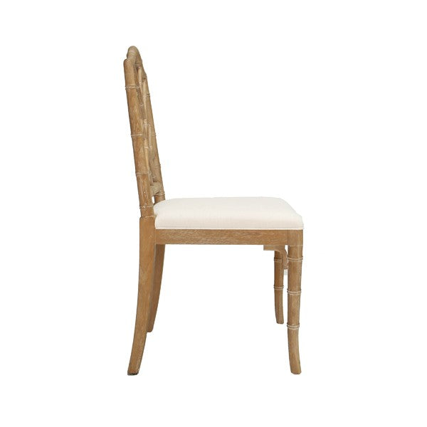 Worlds Away Fairfield Chair Cerused Oak Bamboo Upholstered