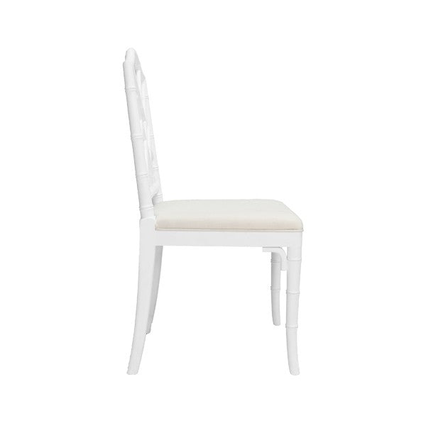 Worlds Away Fairfield Chair White Lacquer Bamboo Upholstered