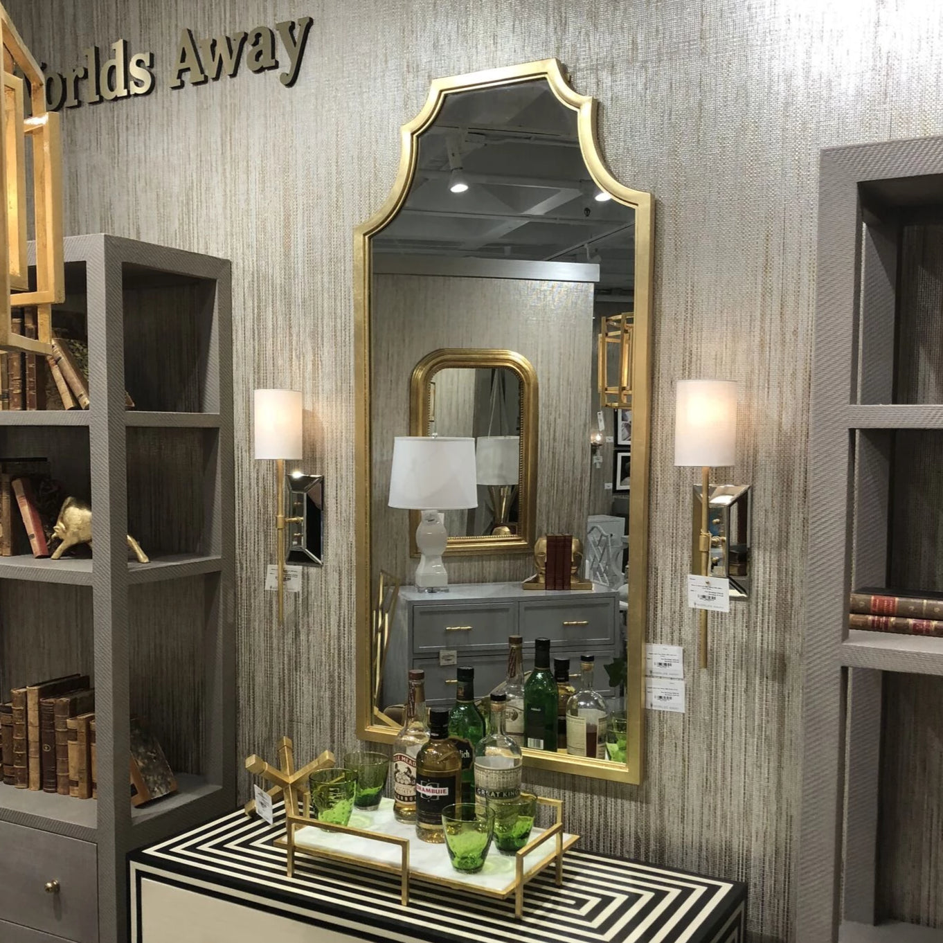 worlds away Finley floor arch mirror gold showroom