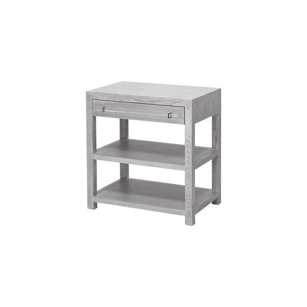 worlds away Garbo Con Grey Ceruse Oak Drawer Silver Hardware