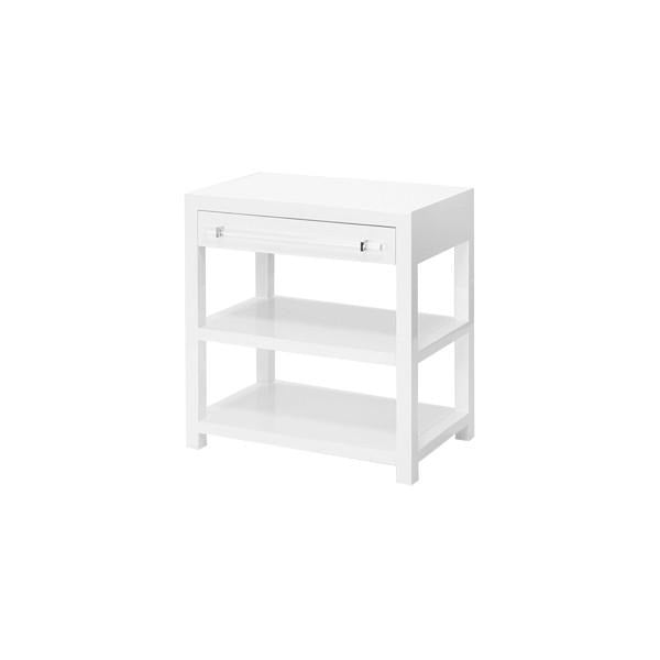 Attirant Worlds Away Garbo Side Table White Lacquer Side Angle