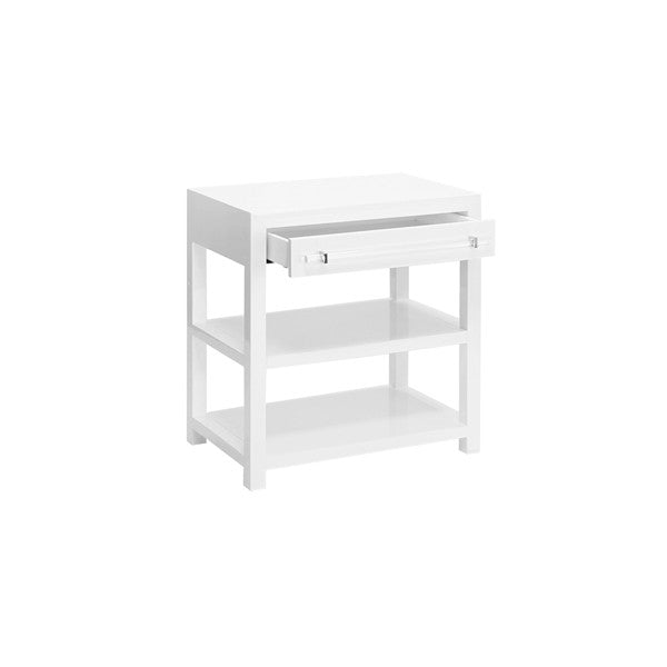 worlds away garbo side table white lacquer drawer open