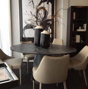 worlds away Hamilton dining table black showroom