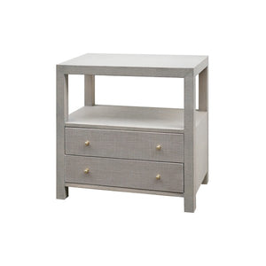 worlds away hattie side table grey grasscloth side view