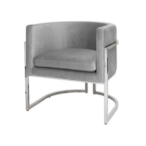 worlds away jenna chair grey velvet nickel finish