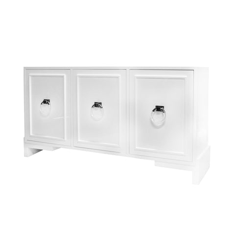 worlds away lyra three door cabinet  nickel and white angle