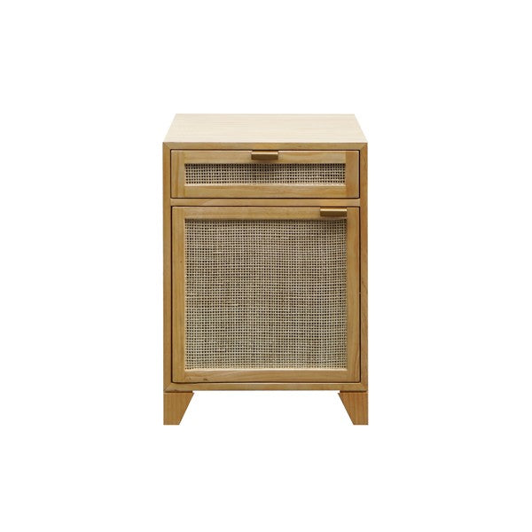 Worlds Away Nell Side Table Pine Cane Door Brass Living