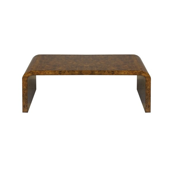 Worlds Away Newbury Coffee Table Dark Burl Wood Seating