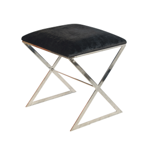 "Worlds Away ""X"" side stool in nickel plate with black velvet top."