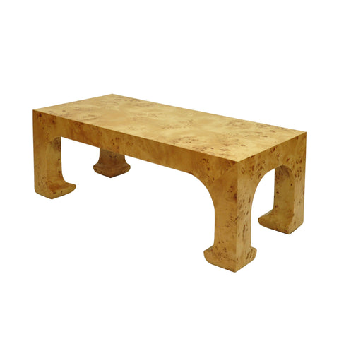 worlds away nicola coffee table burl wood angle