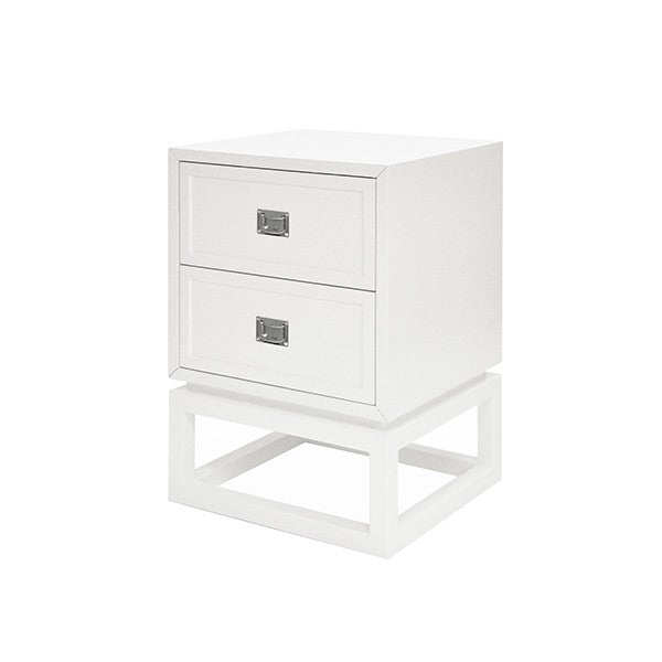 worlds away oliver side table view white storage nickel hardware