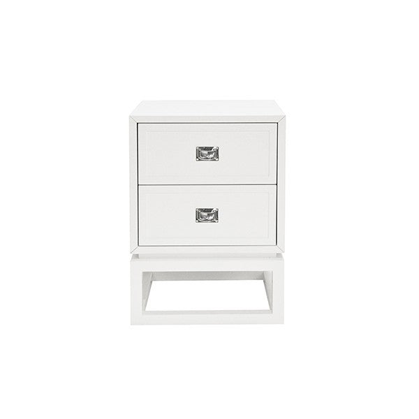 worlds away oliver side table white two drawers nightstand