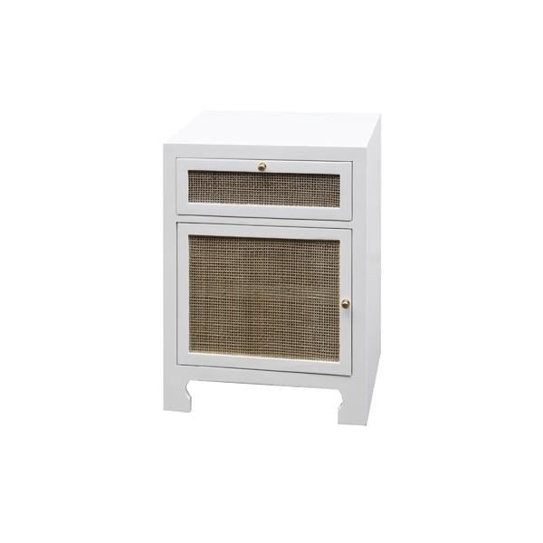Elegant Worlds Away Ruth One Door Cabinet White Lacquer Side