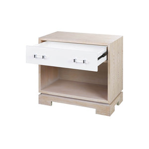 worlds away shane side table coerced oak open drawer