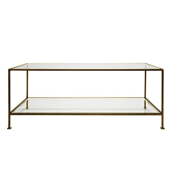 worlds away taylor coffee table brz bronze glass front