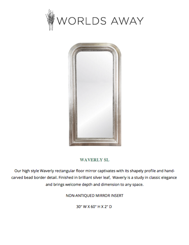 worlds away waverly floor mirror silver tearsheet