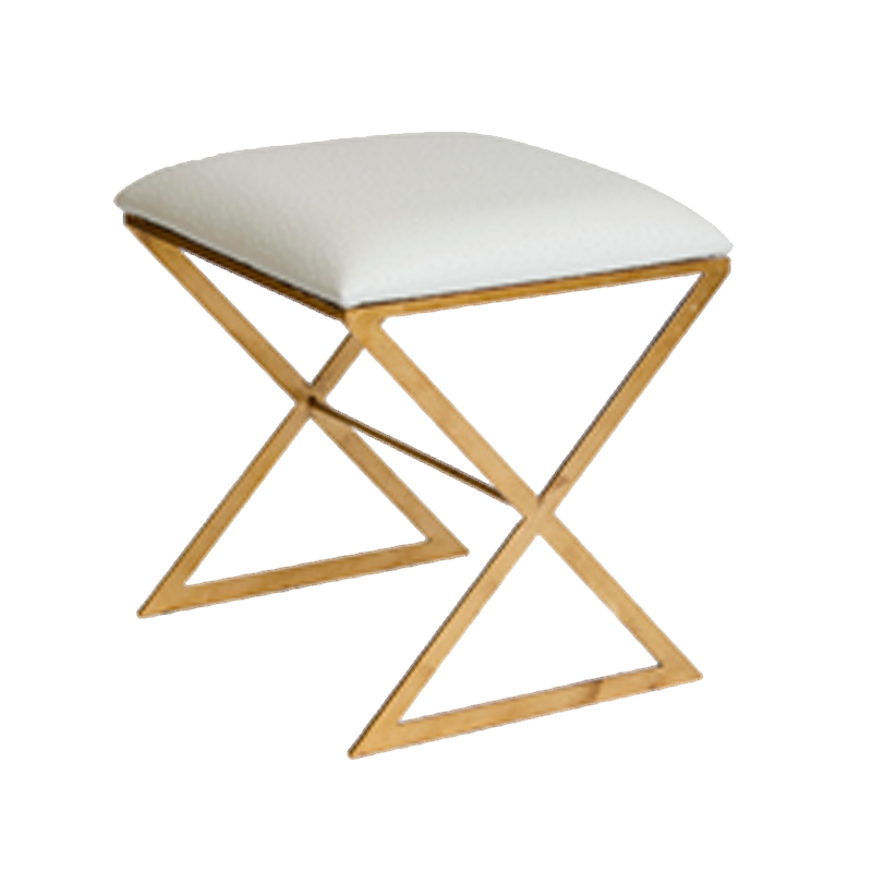 Worlds Away X Stool in Gold Leaf with White Faux Ostrich Top