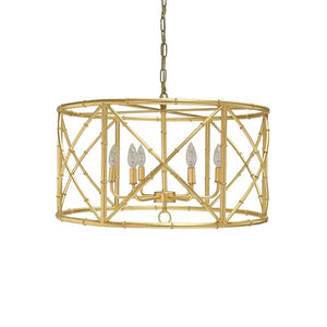 words away zia chandelier bamboo gold leaf unique