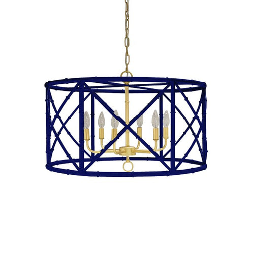 worlds away zia chandelier navy bamboo gold unique