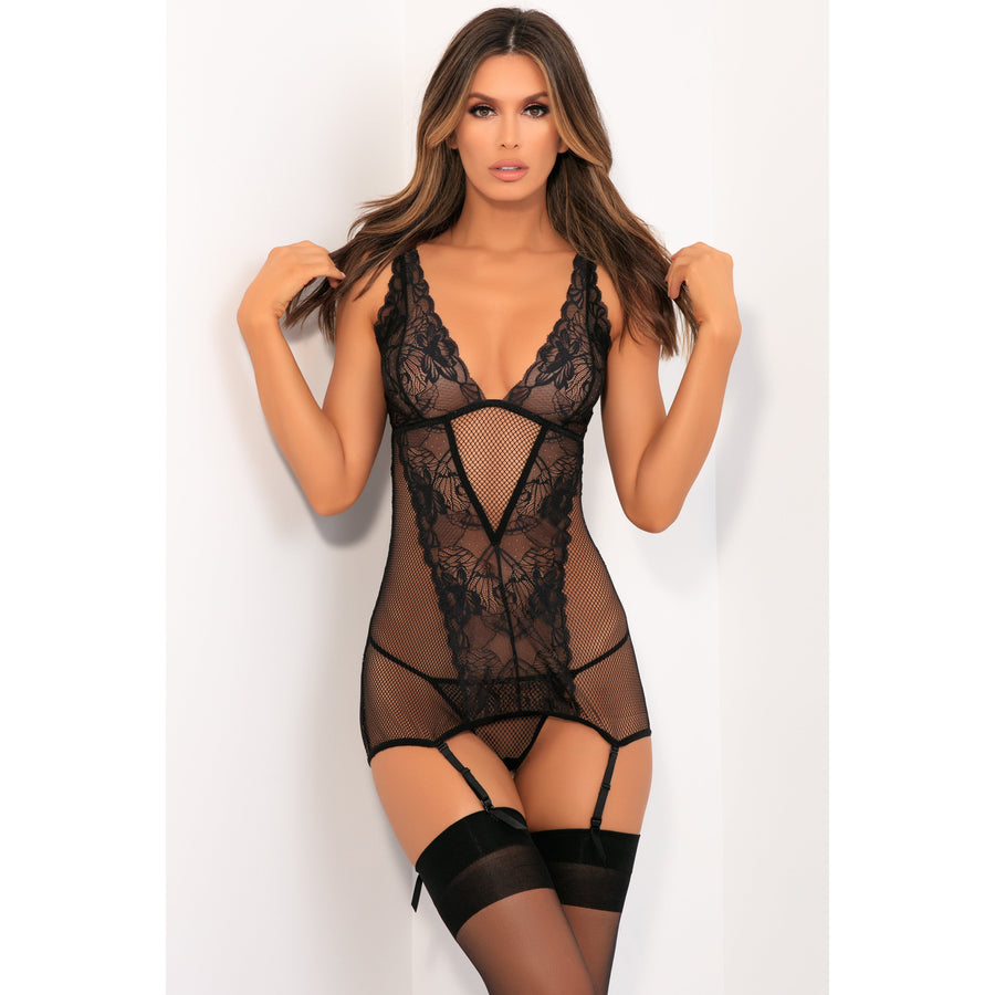 Rene Rofe - Deconstruct Me Chemise 2 Pieces Set S/M (Black)