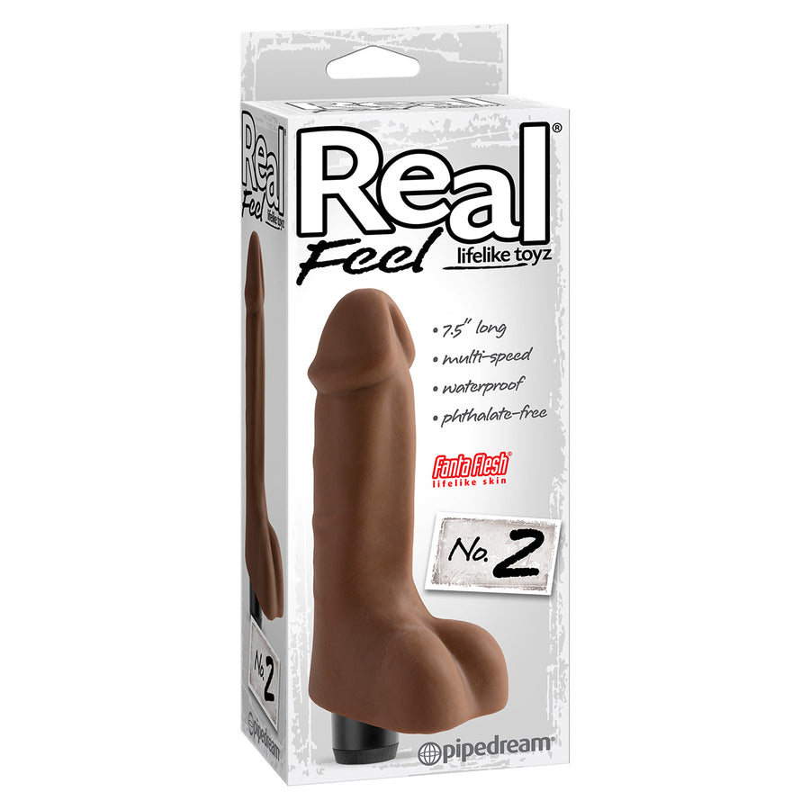 Pipedream - Real Feel No. 2 Vibrating Dildo (Brown)