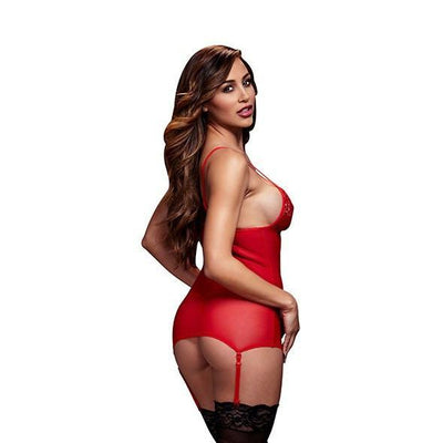 Baci - Basque & Garter Stays No Panty One Size (Red) - PleasureHobby