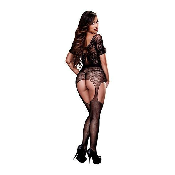 Baci - Crotchless Suspender Bodystocking One Size (Black) - PleasureHobby
