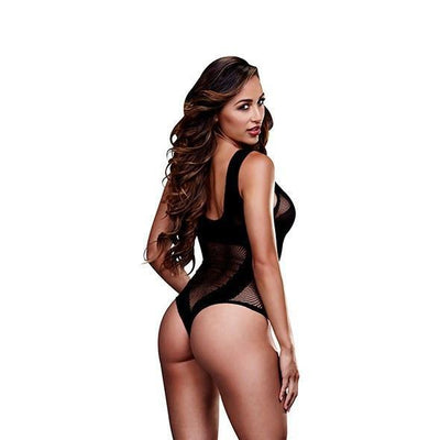 Baci - Fishnet Jacquard V Teddy One Size (Black) - PleasureHobby
