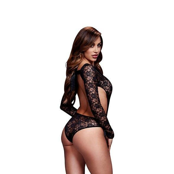 Baci - Lacy Bodysuit Back Cutout One Size (Black) Costumes Durio Asia