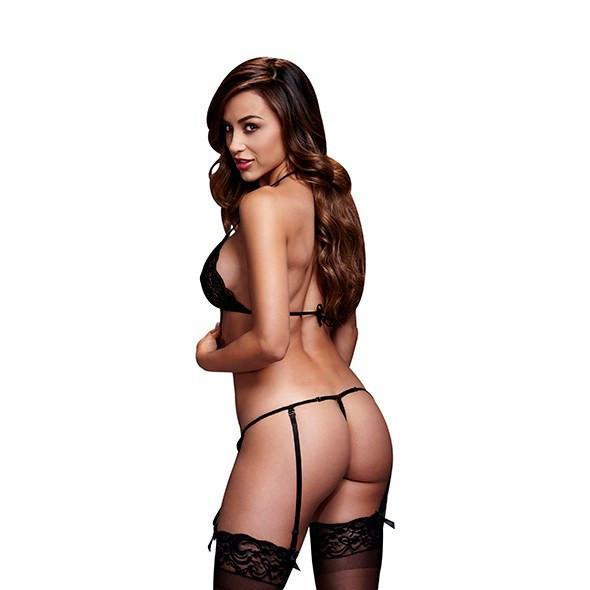 Baci - Lacy Bra Garter & Open Crotch Panty One Size (Black) - PleasureHobby