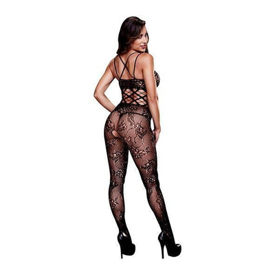 Baci - Racerback Crotchless Lace Bodystocking One Size (Black) - PleasureHobby