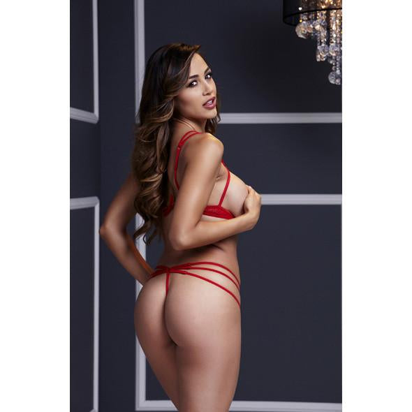 Baci - Red Strappy Open Cup Bra Set & Panty One Size Chemises Durio Asia