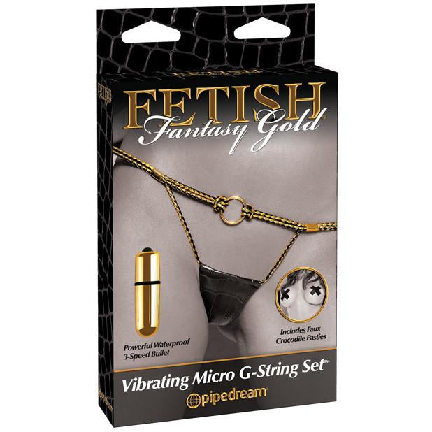 Pipedream - Fetish Fantasy Gold Vibrating Micro G-String Set - PleasureHobby
