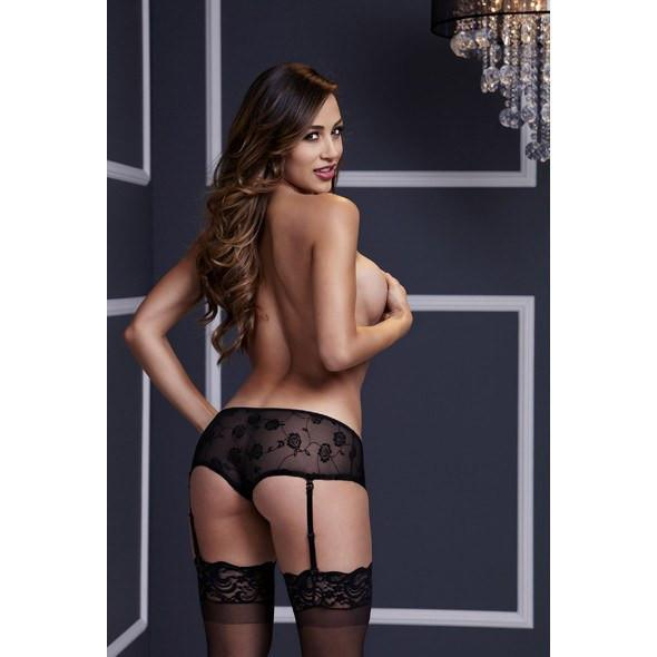 Baci - Rose Open Crotch Boyshort Panty Medium (Black) Crotchless Panties - CherryAffairs Singapore