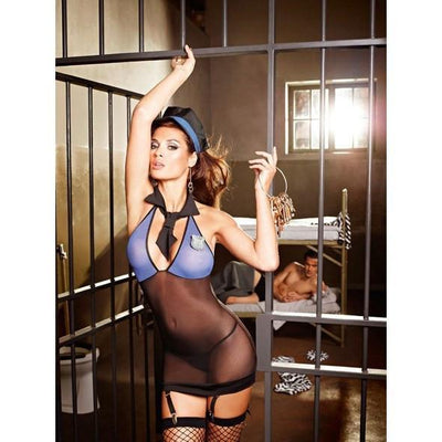 Baci - Sexy Sergeant Set Small/Medium (Black/Blue) Costumes - CherryAffairs Singapore