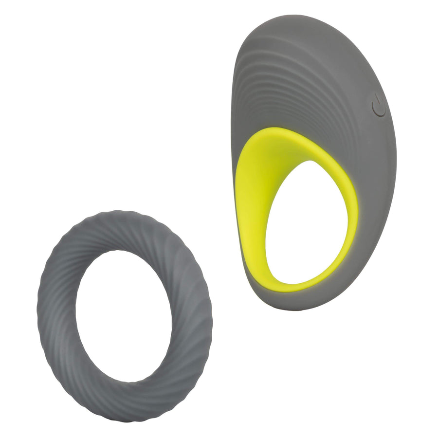 California Exotics - Link Up Edge Vibrating Cock Ring (Grey) Silicone Cock Ring (Vibration) Rechargeable Durio Asia