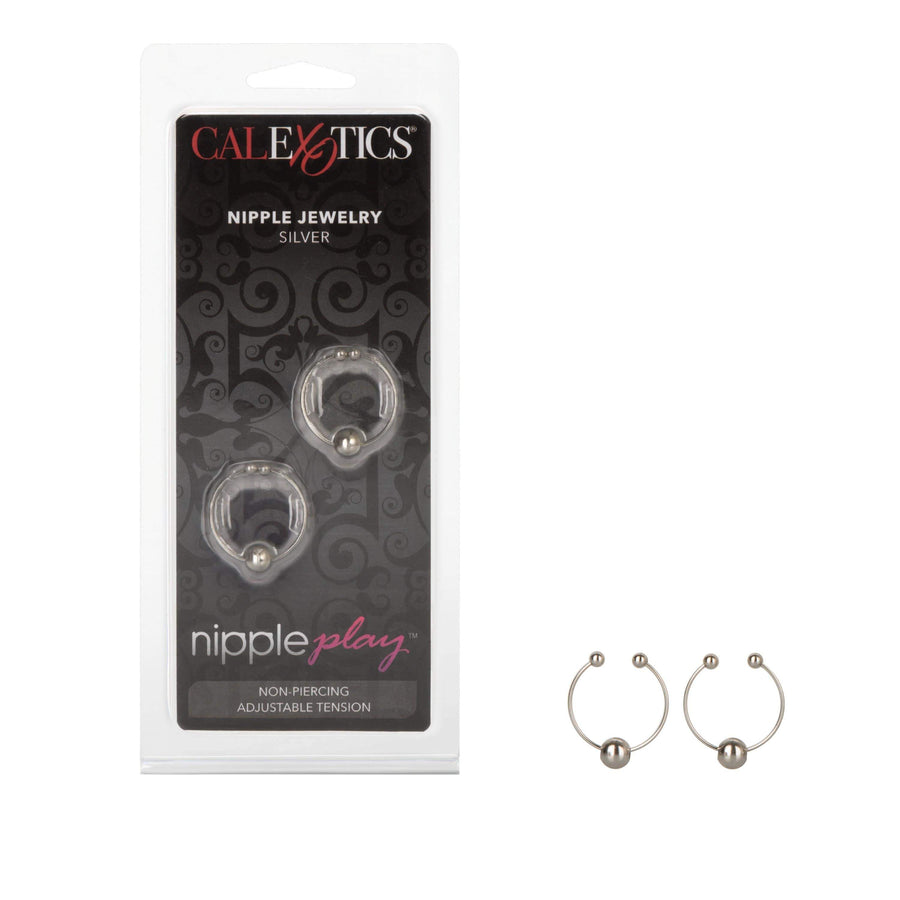 California Exotics - Nipple Play Nipple Jewelry Ring (Silver) Nipple Clamps (Non Vibration) Durio Asia