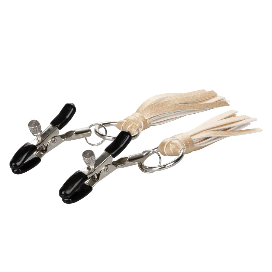California Exotics - Nipple Play Playful Tassels Nipple Clamps (Gold) Nipple Clamps (Non Vibration) Durio Asia