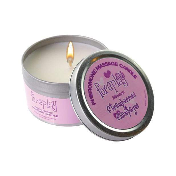 Classic Erotica - Foreplay Pheromone Soy Massage Candle Strawberries Champagne 4oz (Pink)