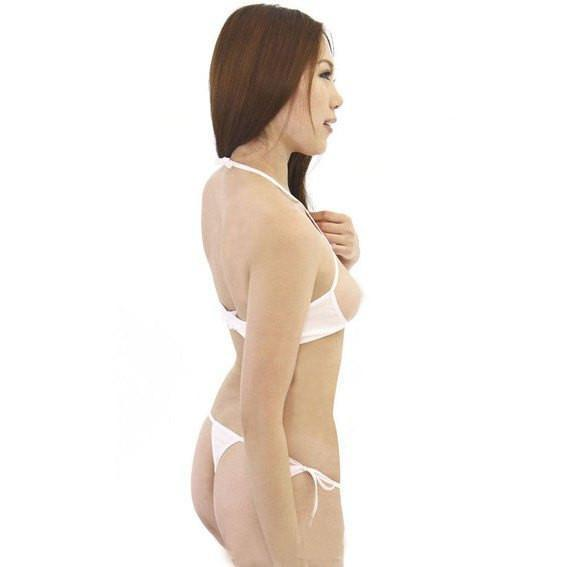 Erox - Natural Stretching Open Bra Set (White) Lingerie (Non Vibration) - CherryAffairs Singapore
