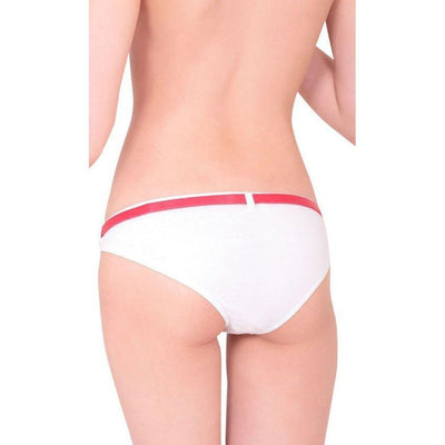Erox - Red Ribbon Panties With Belt (White) Lingerie (Non Vibration) - CherryAffairs Singapore