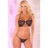 Pink Lipstick - 2 Pieces Lace Strappy Bra and G String Set M/L (Black) Lingerie (Non Vibration) 017036773921 CherryAffairs
