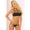 Pink Lipstick - 2 Pieces Royal Harness Bra and G String M/L (Black) Lingerie (Non Vibration) 017036634758 CherryAffairs