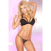 Pink Lipstick - 2 Pieces Three Straps Lace Bra G String M/L (Black) Lingerie (Non Vibration) 017036906763 CherryAffairs