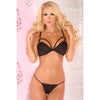 Pink Lipstick - 2 Pieces Three Straps Micro Bra Set M/L (Black) Lingerie (Non Vibration) 017036773907 CherryAffairs