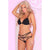 Pink Lipstick - Bound Bra and Strap Panty Set M/L (Black)