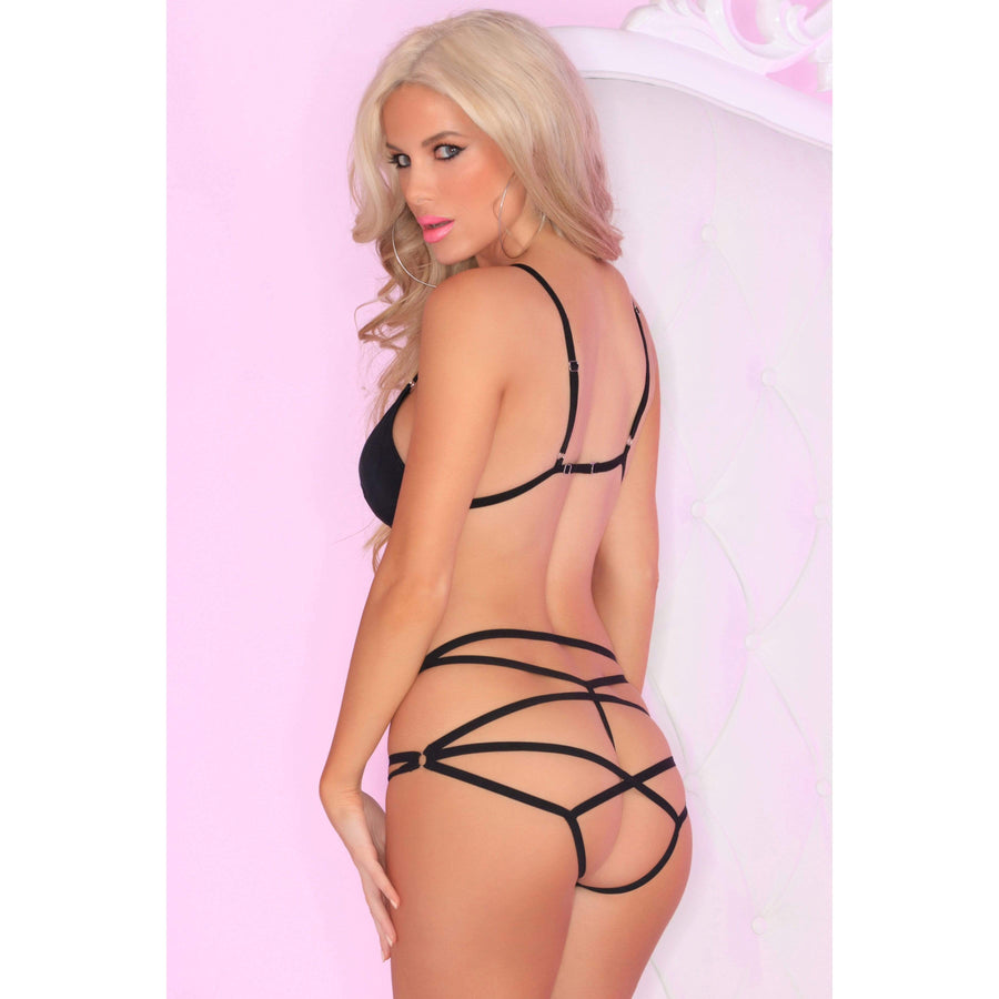 Pink Lipstick - Bound Bra and Strap Panty Set M/L (Black) Lingerie (Non Vibration) 017036241055 CherryAffairs