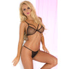 Pink Lipstick - Killing It Fishnet Bra Set M/L (Black) Lingerie (Non Vibration) 017036882814 CherryAffairs